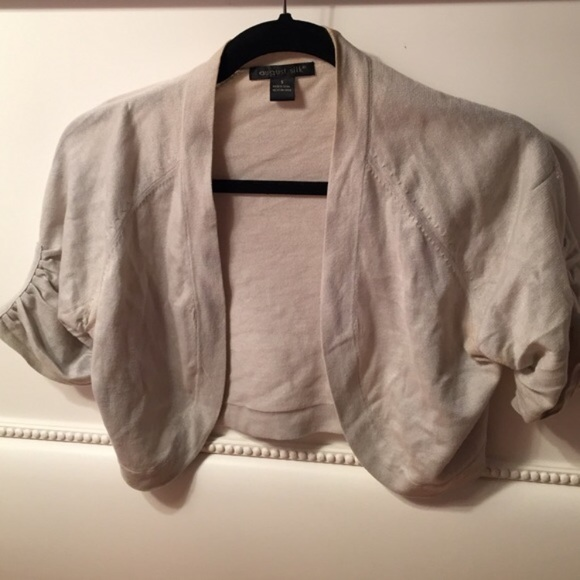 august silk Sweaters - White Shimmery Open Cropped Cardigan Short Sleeve